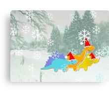 Cute Cartoon Dinosaurs in a Christmas Snow Landscape Canvas Print