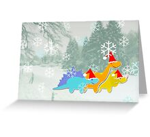 Cute Cartoon Dinosaurs in a Christmas Snow Landscape Greeting Card