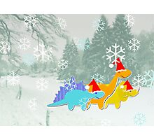 Cute Cartoon Dinosaurs in a Christmas Snow Landscape Photographic Print