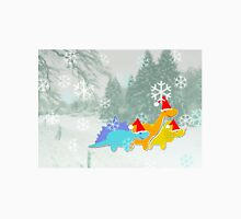 Cute Cartoon Dinosaurs in a Christmas Snow Landscape Unisex T-Shirt