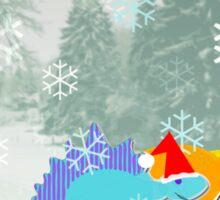 Cute Cartoon Dinosaurs in a Christmas Snow Landscape Sticker