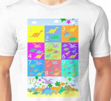 Counting with Cute Cartoon Dinosaurs 1 to 10 Unisex T-Shirt