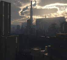 Future City in Early Evening Light by algoldesigns