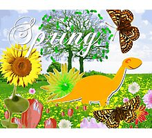 Cute Dinosaur Spring Landscape Photographic Print