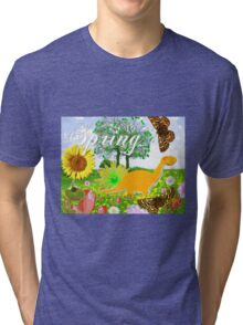 Cute Dinosaur Spring Landscape Tri-blend T-Shirt