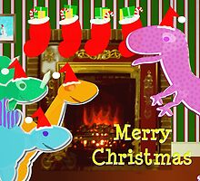 Cute Cartoon Dinosaurs by the Fireplace Merry Christmas by cutecartoondino