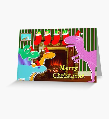 Cute Cartoon Dinosaurs by the Fireplace Merry Christmas Greeting Card
