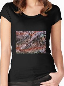 Textured Cork Tree Abstract Women's Fitted Scoop T-Shirt
