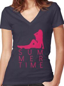 It's Summertime! Women's Fitted V-Neck T-Shirt