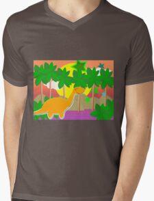 Cute Cartoon Dinosaur Tropical Sunset/ Sunrise Mens V-Neck T-Shirt