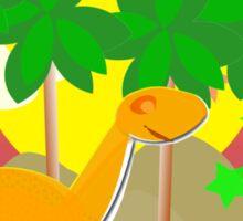 Cute Cartoon Dinosaur Tropical Sunset/ Sunrise Sticker