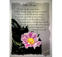 Peony with Poem Photographic Print