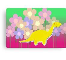 Cute Cartoon Dinosaur Yellow Diploducus Color Flowers Canvas Print