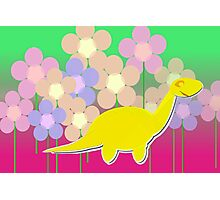 Cute Cartoon Dinosaur Yellow Diploducus Color Flowers Photographic Print