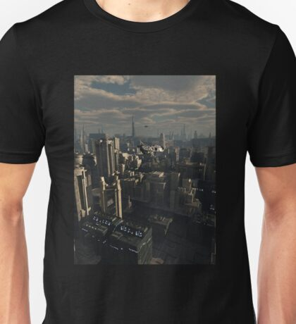 Shuttle Craft over the Future City Unisex T-Shirt