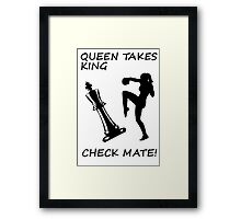 Queen Takes King Check Mate Female Kickboxer Punch and Knee Black  Framed Print