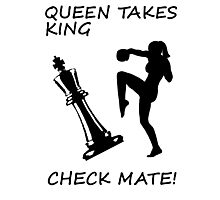 Queen Takes King Check Mate Female Kickboxer Punch and Knee Black  Photographic Print