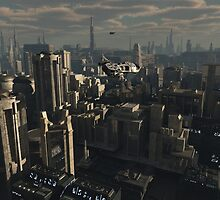Shuttle Craft over the Future City by algoldesigns