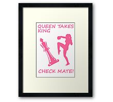 Queen Takes King Check Mate Female Kickboxer Punch and Knee Pink  Framed Print