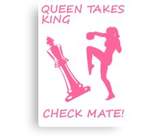 Queen Takes King Check Mate Female Kickboxer Punch and Knee Pink  Canvas Print