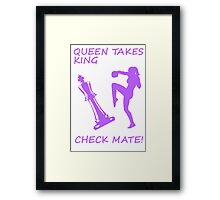Queen Takes King Check Mate Female Kickboxer Punch and Knee Purple Framed Print