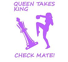 Queen Takes King Check Mate Female Kickboxer Punch and Knee Purple Photographic Print