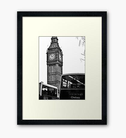 Clocks and Buses  Framed Print