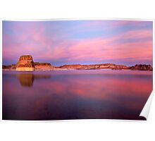 Lone Rock Sunset Poster