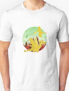 Cute Orange Cartoon Dragon Fantasy Landscape Unisex T-Shirt