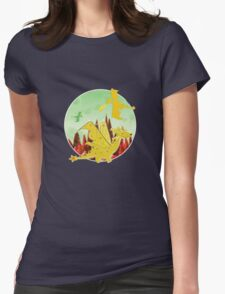 Cute Orange Cartoon Dragon Fantasy Landscape Womens Fitted T-Shirt