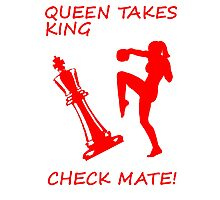 Queen Takes King Check Mate Female Kickboxer Punch and Knee Red  Photographic Print