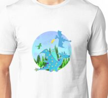 Cute Blue Cartoon Dragon with Stars Wings and Star Tail Unisex T-Shirt