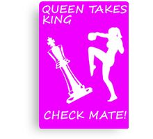 Queen Takes King Check Mate Female Kickboxer Punch and Knee White  Canvas Print
