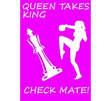 Queen Takes King Check Mate Female Kickboxer Punch and Knee White  Photographic Print