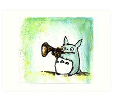 Totoro Watercolour (Trumpet) -Studio Ghibli Art Print