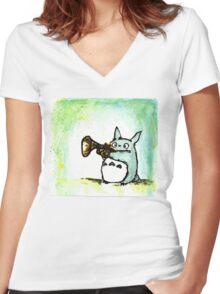 Totoro Watercolour (Trumpet) -Studio Ghibli Women's Fitted V-Neck T-Shirt
