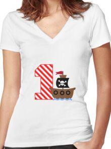 Customizable pirate first birthday geek funny nerd Women's Fitted V-Neck T-Shirt