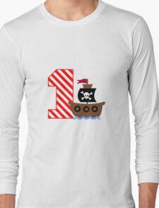 Customizable pirate first birthday geek funny nerd Long Sleeve T-Shirt