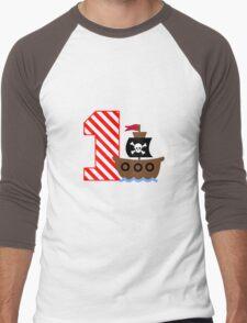 Customizable pirate first birthday geek funny nerd Men's Baseball ¾ T-Shirt