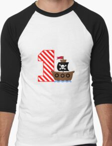 Customizable pirate first birthday geek funny nerd Men's Baseball ¾ T-Shirt