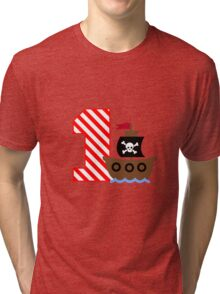 Customizable pirate first birthday geek funny nerd Tri-blend T-Shirt