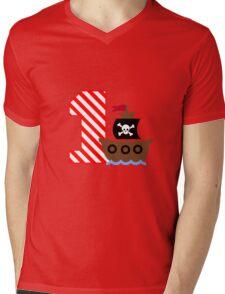 Customizable pirate first birthday geek funny nerd Mens V-Neck T-Shirt