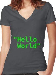 Hello world ! Women's Fitted V-Neck T-Shirt