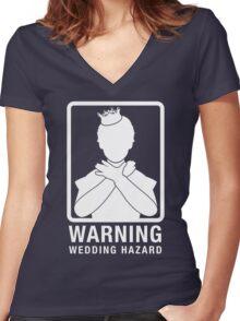 Warning: Wedding Hazard Women's Fitted V-Neck T-Shirt