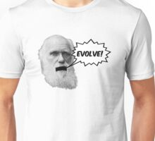 "Darwin shouts ""EVOLVE"" Unisex T-Shirt"