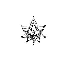 Black and White Lotus Flower Doodle  by rosewelldesigns