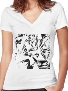 Modern Black and White Paint Splattered Triangles Women's Fitted V-Neck T-Shirt