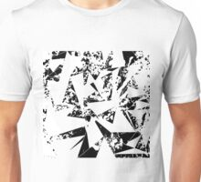 Modern Black and White Paint Splattered Triangles Unisex T-Shirt
