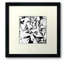 Modern Black and White Paint Splattered Triangles Framed Print