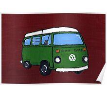 Green VW camper Poster